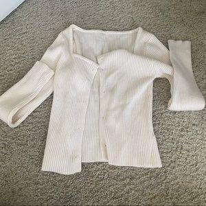 cream square neck cardigan